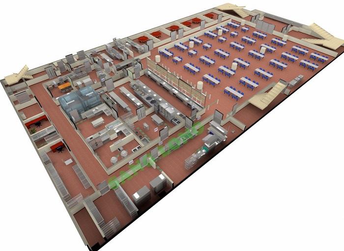 Một số bản thiết kế 3D hệ thống bếp ăn công nghiệp